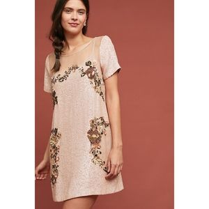 Anthropologie Sequin Silk Mini Dress L Brand New